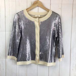 LOFT Silver Metallic Sequins Cardigan Size S NWT